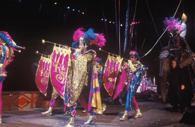 Narren met Klaroenen, Ringling-Broers & Barnum & Bailey Circus royalty-vrije stock fotografie