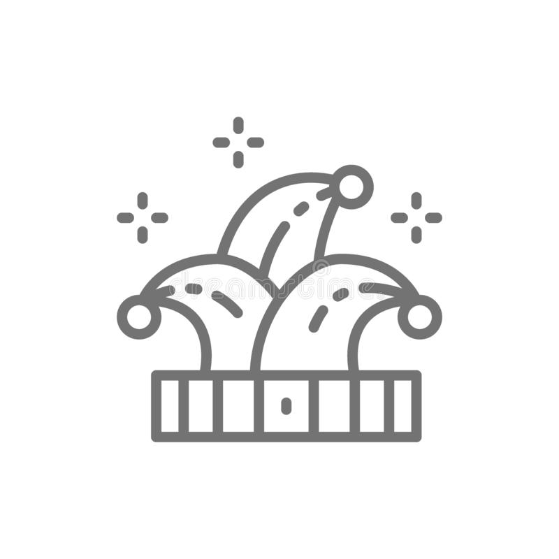 Narrenhoed, joker, het pictogram van de clownlijn stock illustratie