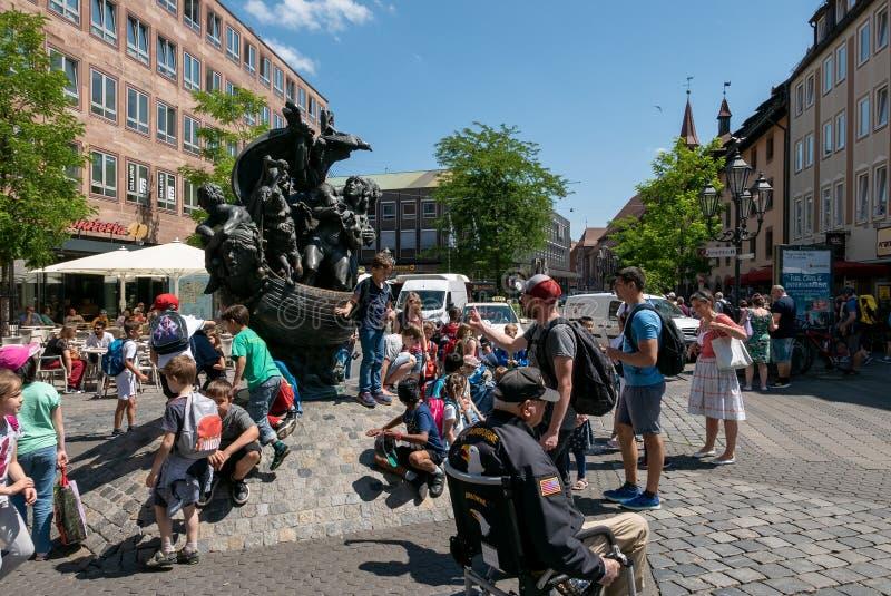Narrenschiffbrunnen, Nuremberg royalty-vrije stock afbeelding