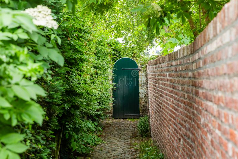 Narrow access path to a wooden garden gate. Shady, narrow access path to a wooden garden gate, bordered by a hedge and a brick wall royalty free stock photo