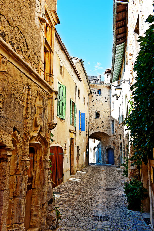 The Narrow Alley. Of Medieval French City of Rochemaure royalty free stock photo