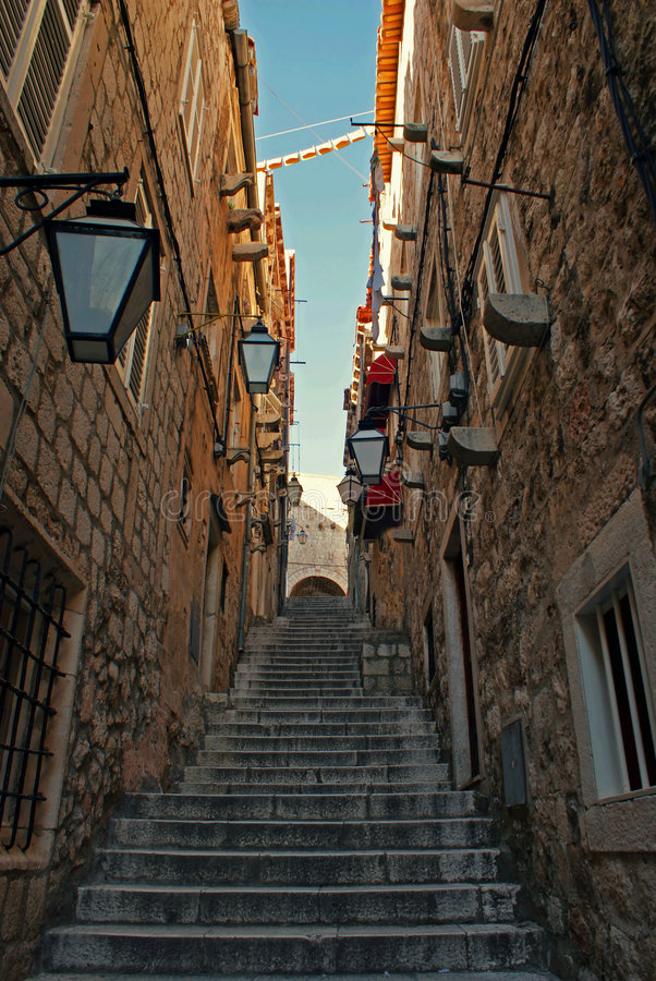 Narrow alley. Picture of narrow stone alley in Dubrovnik stock image