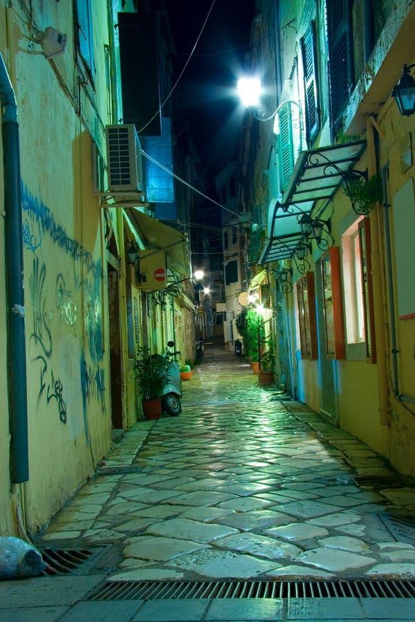 Download Narrow Alley At Night On Corfu Island Stock Image - Image: 1766147