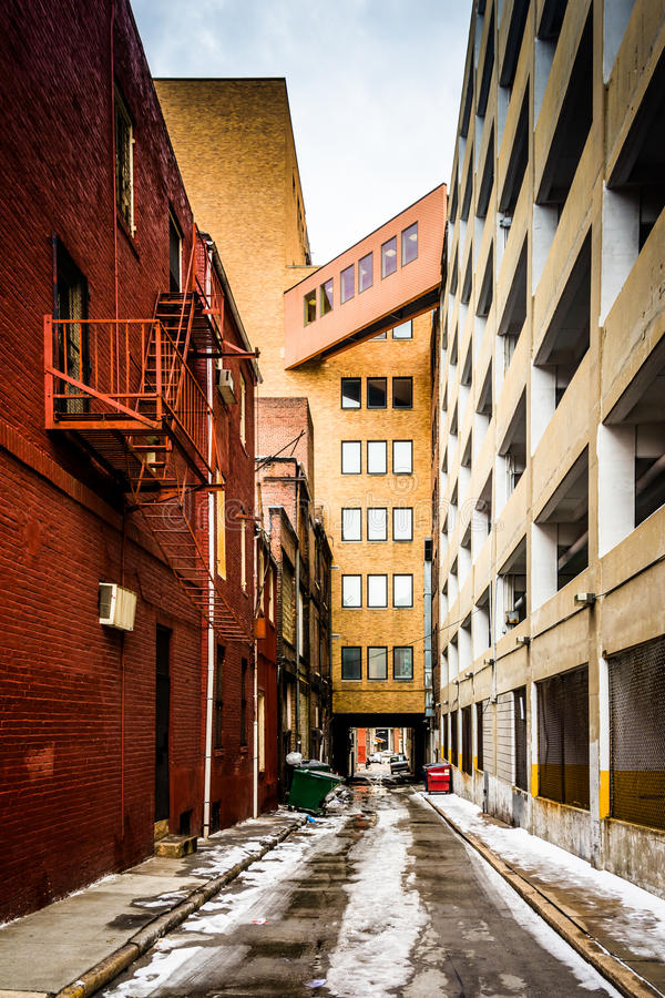 Download Narrow Alley And Parking Garage In Baltimore, Maryland. Stock  Photo   Image Of