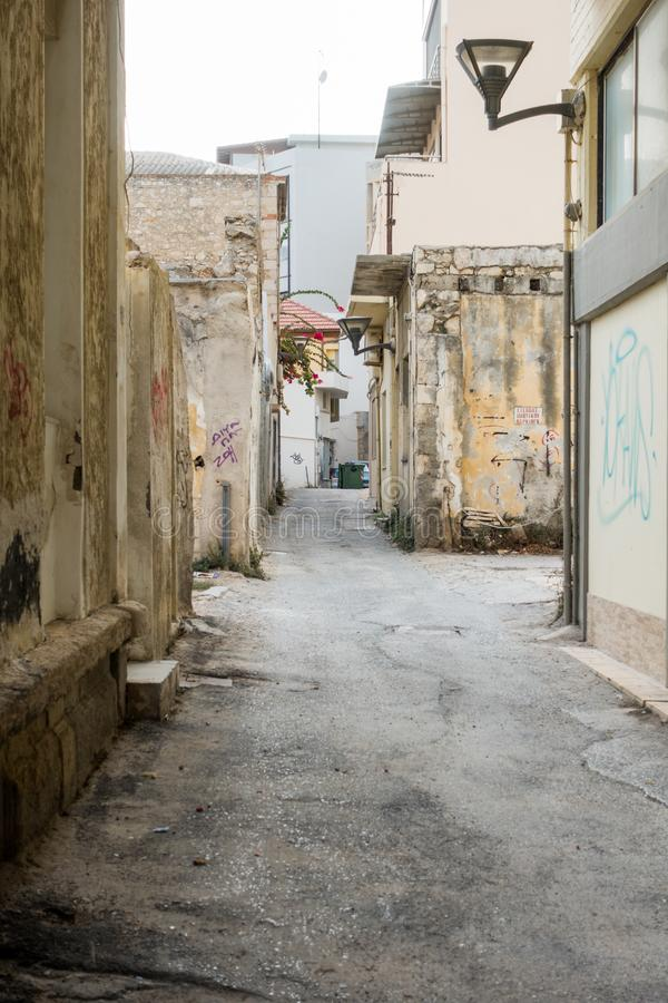 Narrow alley and residential buildings royalty free stock image