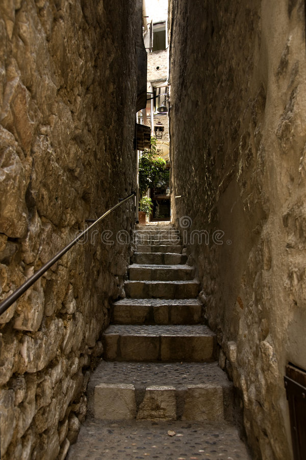 Narrow alley in St. Paul royalty free stock image