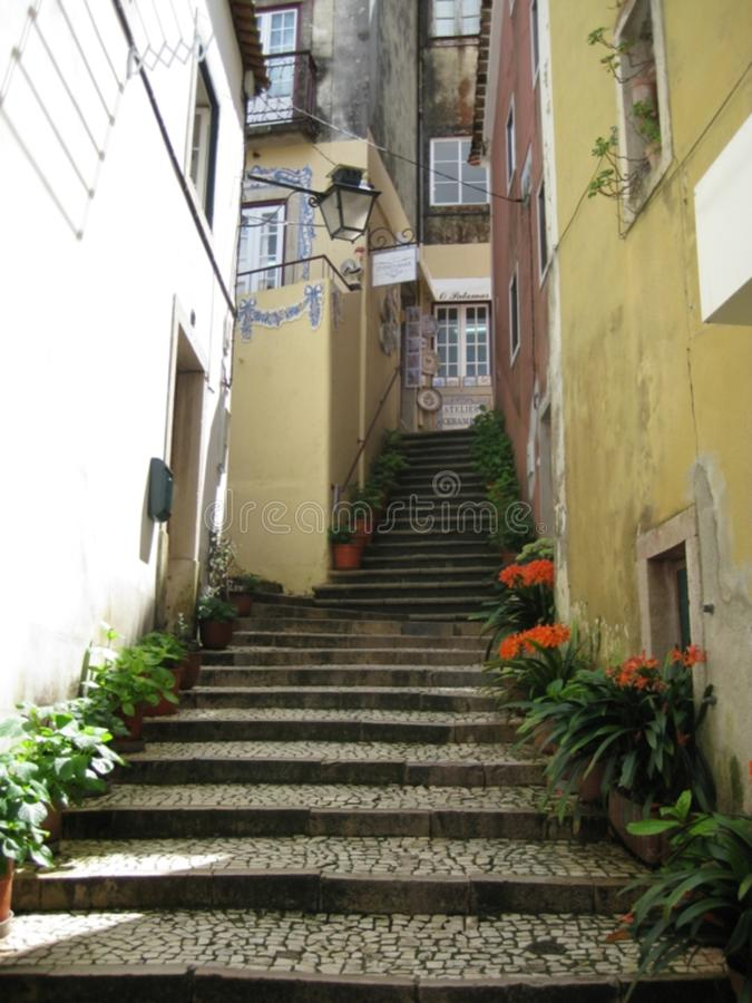 Narrow alley stairway stock images