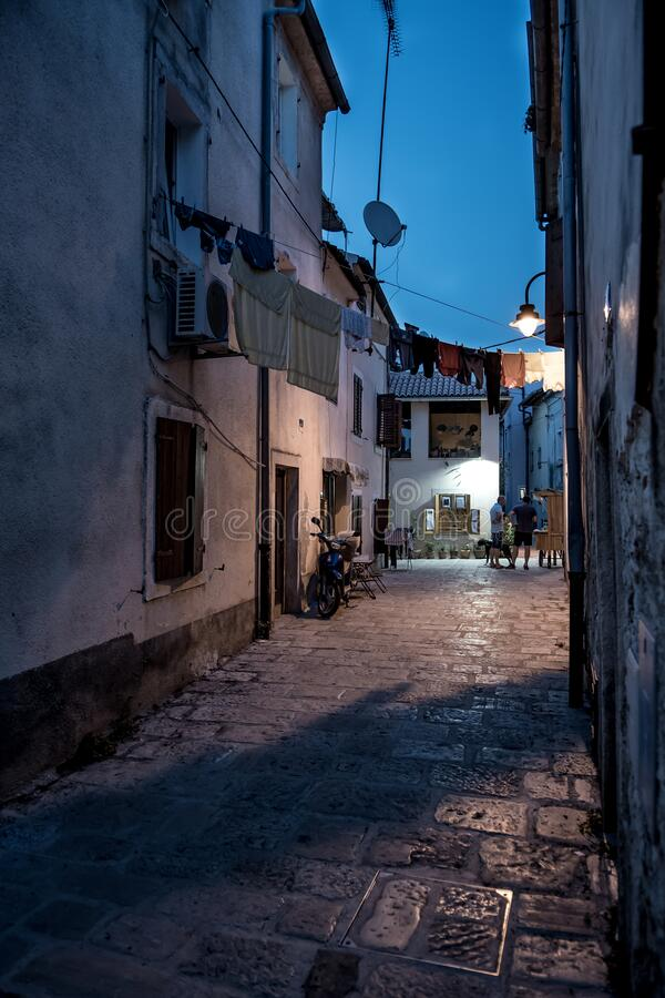 Free Narrow Alley With Old Houses In The Village Fazana In Croatia Stock Photos - 186980663