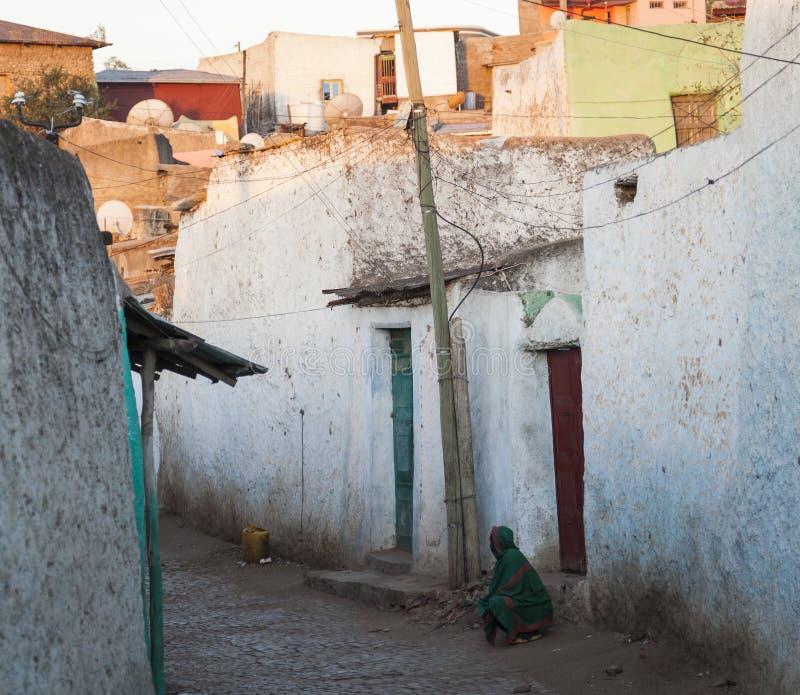 Narrow alleyway of ancient city of Jugol. Harar. Ethiopia. royalty free stock photo