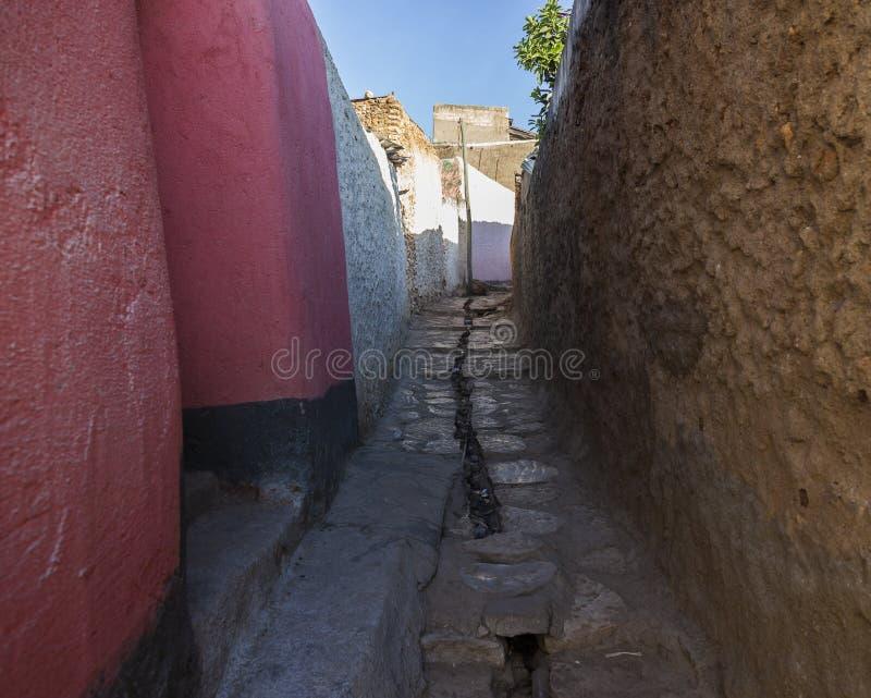 Narrow alleyway of ancient city of Jugol. Harar. Ethiopia. stock photos