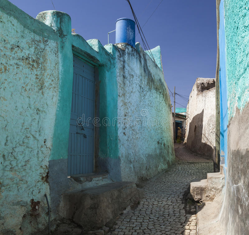 Narrow alleyway of ancient city of Jugol. Harar. Ethiopia. royalty free stock photos
