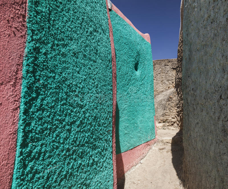 Narrow alleyway of ancient city of Jugol. Harar. Ethiopia. royalty free stock image