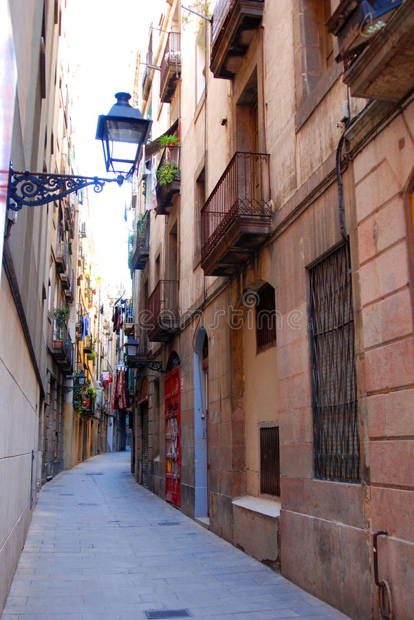 Narrow alleyway in Barcelona stock images