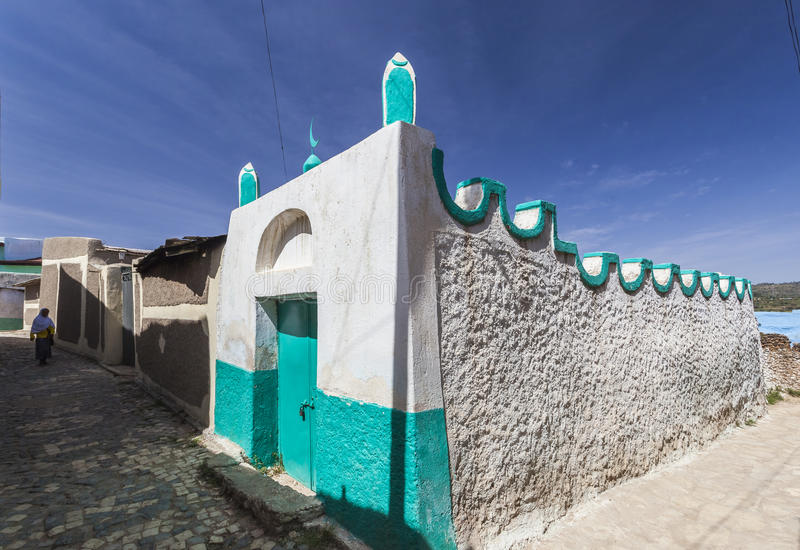 Narrow alleyway in city of Jugol in the morning. Harar. Ethiopia. stock photo