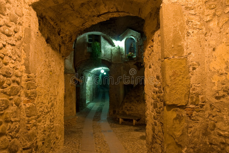 Narrow alleyway in Imperia royalty free stock photography