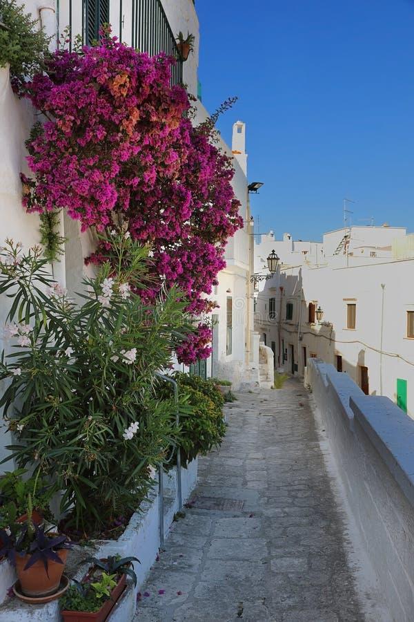 Narrow alleyway in Ostuni, Apulia, Italy stock photography