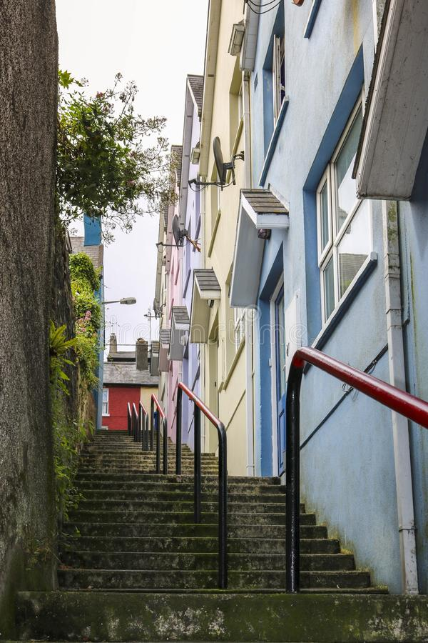 Narrow ally with steps. Kinsale, County Cork. ireland. Narrow ally with steps. Kinsale,County Cork. ireland. Tourism in Ireland royalty free stock image