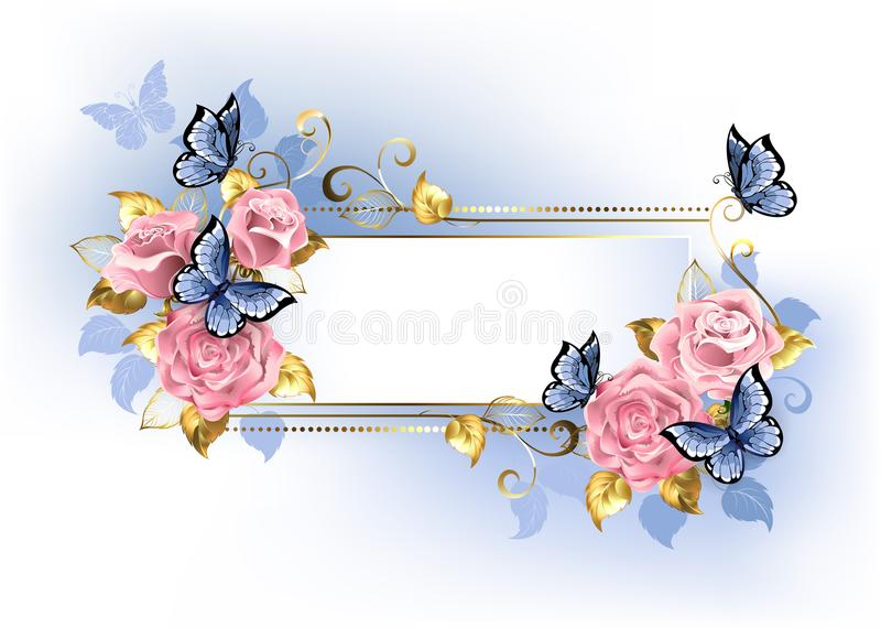 Narrow banner with pink roses. Blue and gold leaves with blue butterflies on white background royalty free illustration