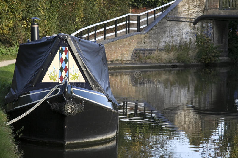 Narrow boat on grand union canal hertfordshire royalty free stock photography