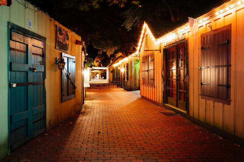 Narrow brick alley at night, in St. Augustine, Florida. Narrow brick alley at night, in St. Augustine, Florida stock photography