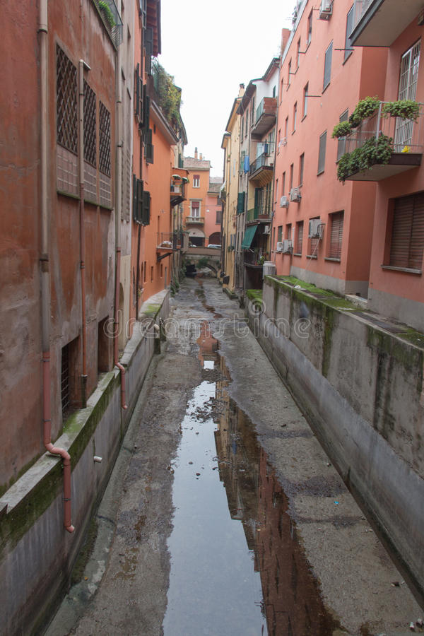 Narrow canal in Bologna downtown. Emilia Romagna , Italy. stock images