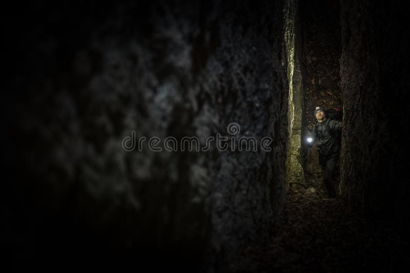 Narrow Cave Expedition royalty free stock images