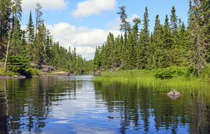 Narrow Channel on a Wilderness Lake. Cross Bay Lake in the Boundary Waters in Minnesota stock photo
