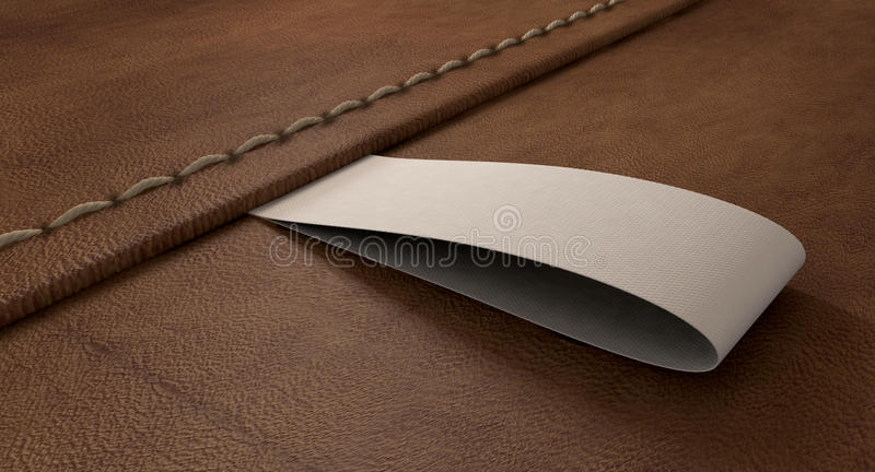 Narrow Clothing Label On Leather Perspective Stock Photo