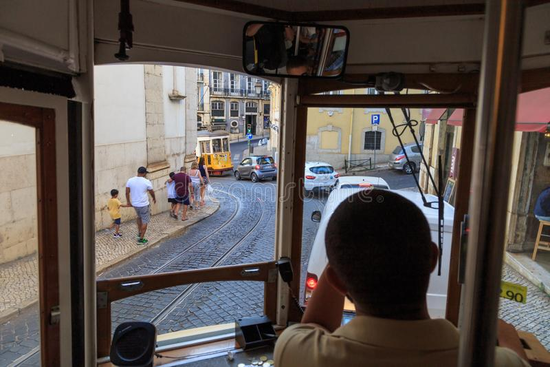 Streets of Lisbon from tram royalty free stock photography