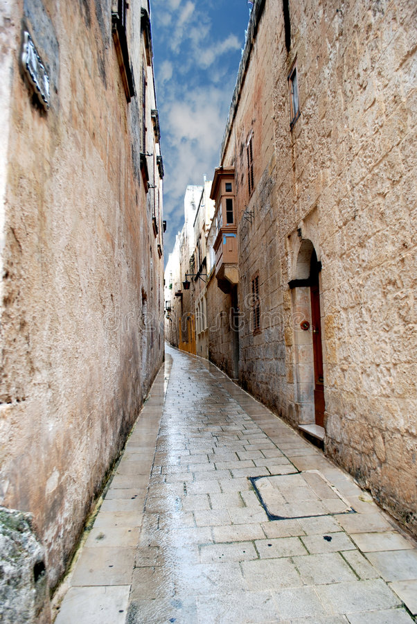 Free Narrow Cobbled Alley Stock Photography - 8419752
