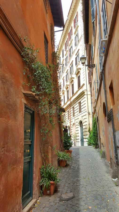Narrow cobblestone alleyway, Trastevere, Rome, Italy. Doorways in colorful homes along cobblestone narrow alleyway in Trastevere neighborhood of Rome, Italy on stock images