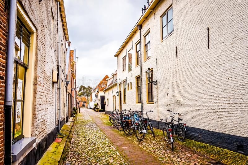 Narrow cobblestone streets in the village of Elburg in the heart of Holland royalty free stock photos