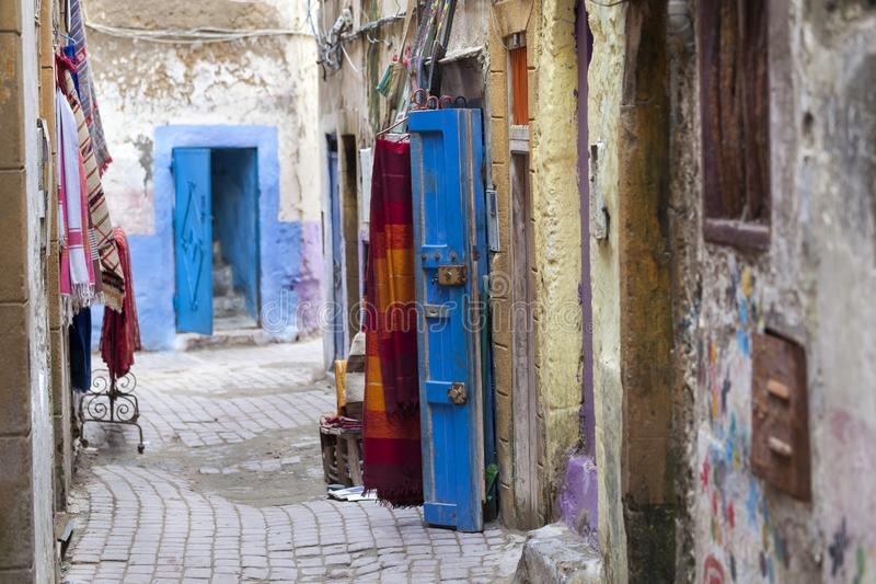Street in the medina of Essaouira. Narrow colorful street in the old medina of Essaouira in Morocco stock photos