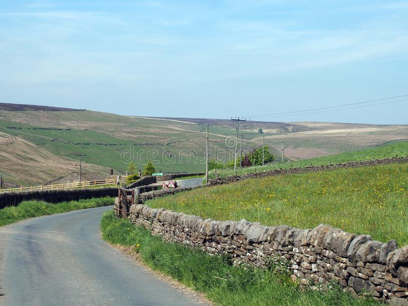 Narrow country lane surrounded by dry stone walls in a sunlit rural hilly landscape on the old howarth road in calderdale west. A narrow country lane surrounded stock photos