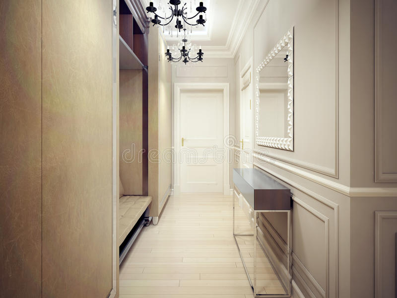 Download The Narrow Entrance In Art Deco Style Stock Image   Image Of  Console, Beige