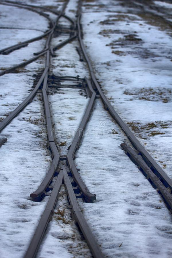 Railroad in snow. Narrow gauge railroad (dolly way) in logging. Remains of camps for political prisoners, Stalins camps stock photos