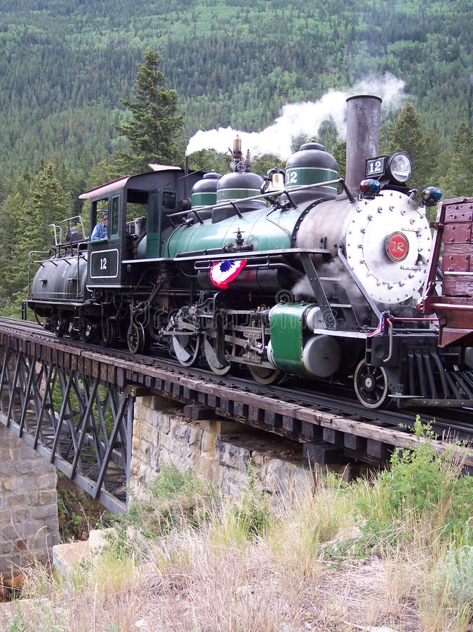 Narrow Gauge railroad locomotive in Colorado stock photography