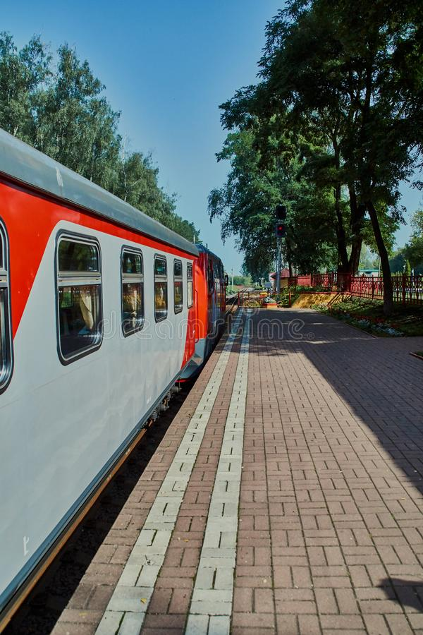 Narrow-gauge railway. Children`s narrow-gauge railway train preparing for departure. Novomoskovsk, Tula, Russia stock image
