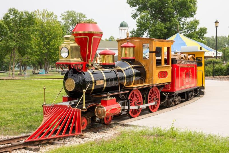 Narrow Gauge Train at Bay Beach Amusement Park. GREEN BAY WI - June 9, 2015: Narrow gauge train engine at Bay Beach Amusement Park, a popular tourist attraction