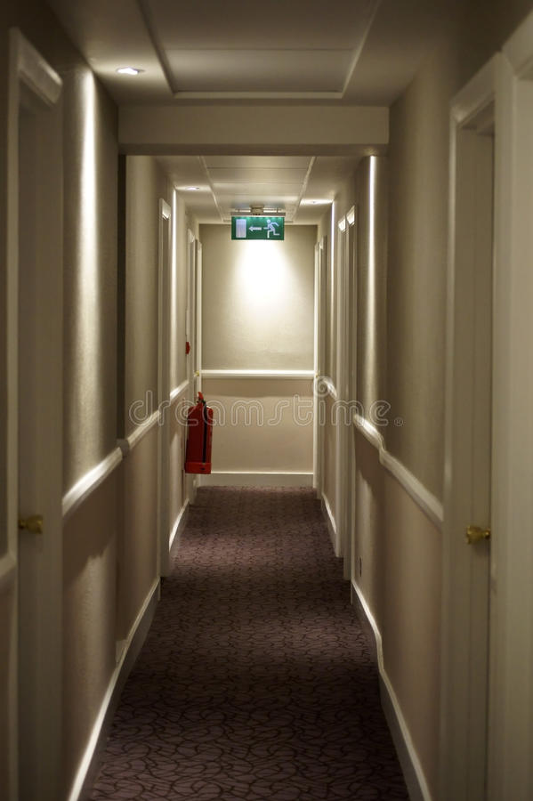 Free Narrow Hallway With Escape Route Royalty Free Stock Image - 54329546