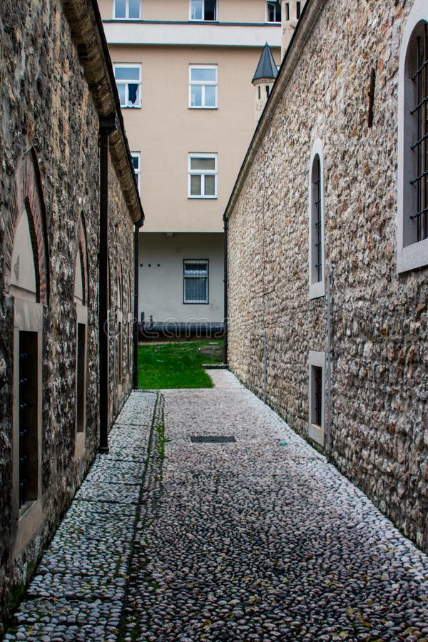 Narrow lane between buildings in the Old Town of Sarajevo. Bosnia and Herzegovina.  stock photos
