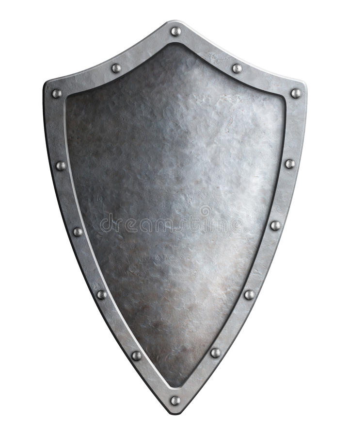 Narrow medieval metal shield isolated. On white stock images