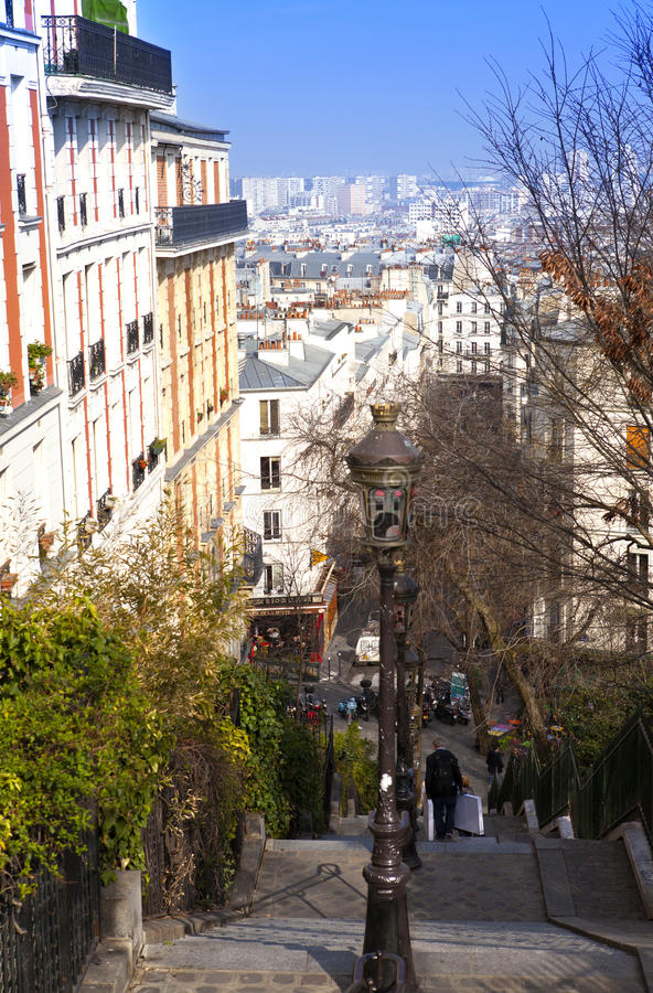 Narrow medieval street near Montmartre, Paris, France stock photos