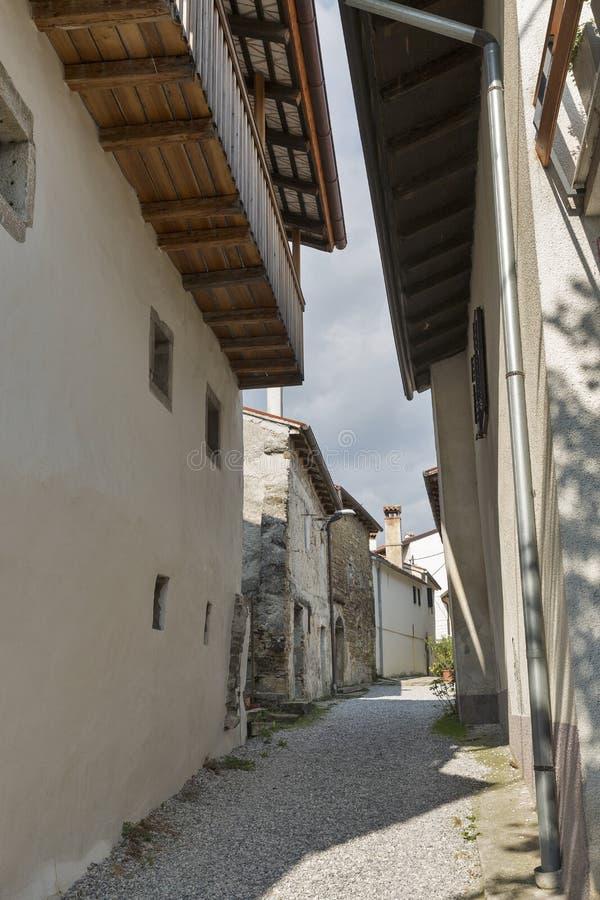 Narrow medieval street in Smartno village, Slovenia. Narrow medieval street in Smartno village, Brda region in Western Slovenia stock photo