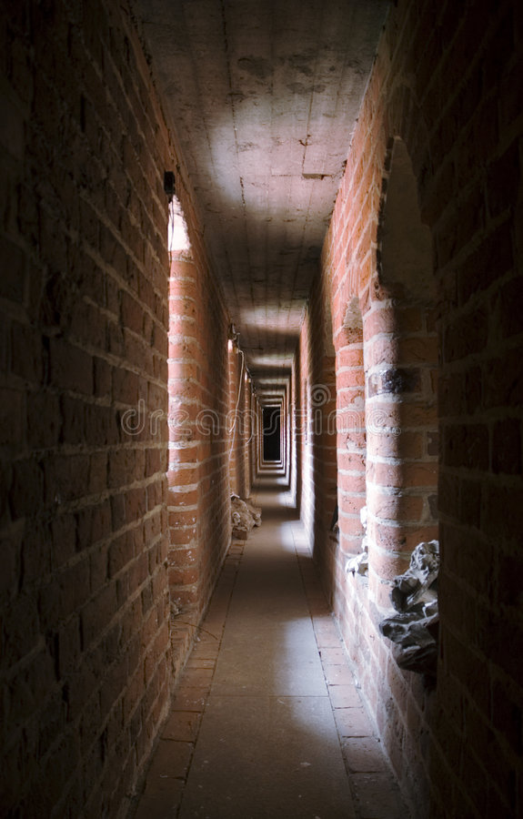 Narrow oblong gallery. In the Malbork castle, Poland royalty free stock image