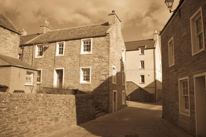 Narrow Orkney street stock photo