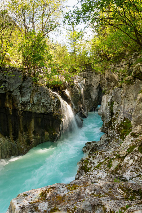 Narrow part od river Soca in Triglav national park. After heavy rain as the water level is still high royalty free stock photos