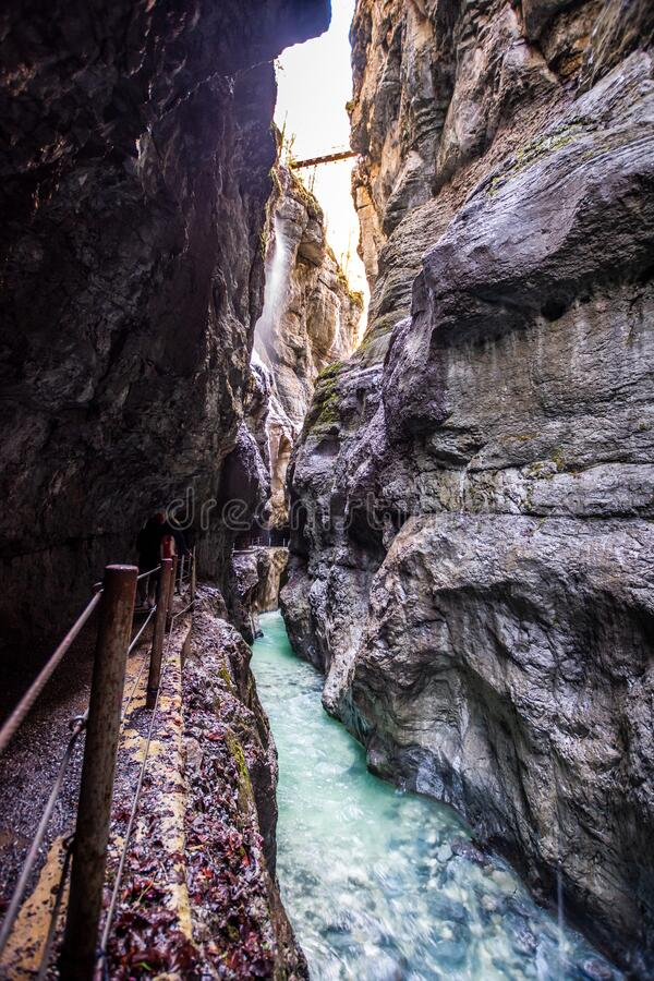 Partnachklamm Canyon in Garmisch-Partenkirchen, Bavaria, Germany. Narrow Partnachklamm Canyon in Garmisch-Partenkirchen, Bavaria, Germany at winter stock image