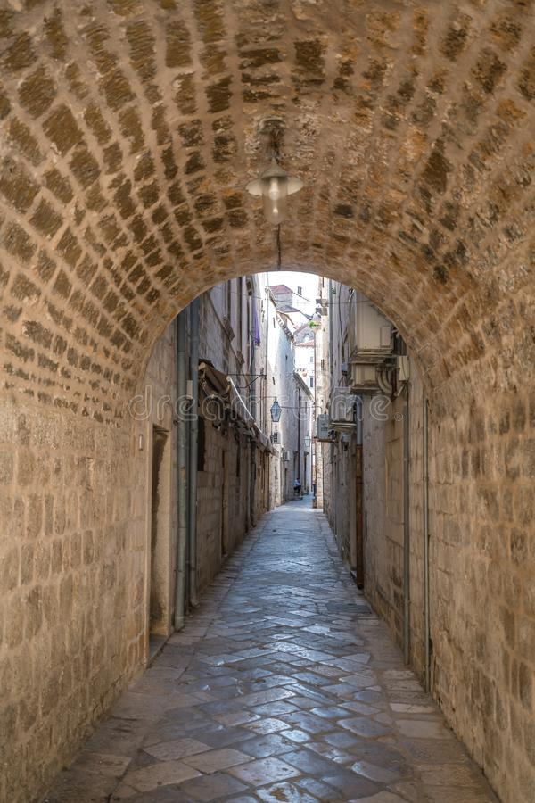 Narrow passage in Dubrovnik Old town stock images