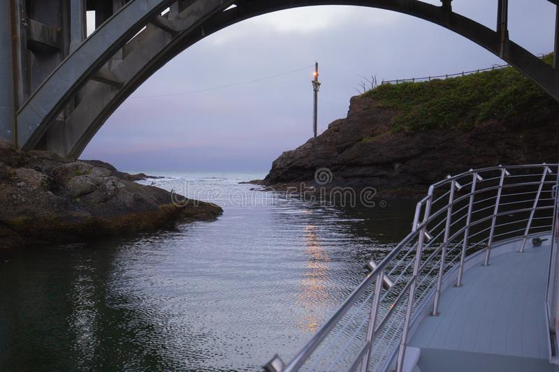 Narrow passage out of Depoe Bay, Oregon. royalty free stock photo